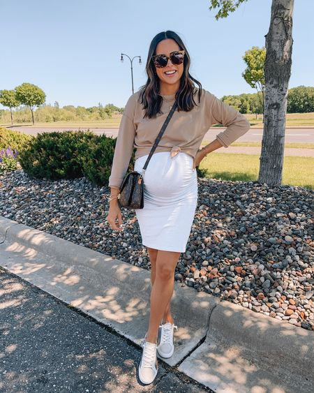 Aerie Sweatshirt: true to size (S)  Amazon Dress: true to size (S) Dolce vita Sneakers: true to size Oversized sunglasses, bump style, maternity outfit, pregnancy fashion   #LTKunder50 #LTKshoecrush #LTKbump