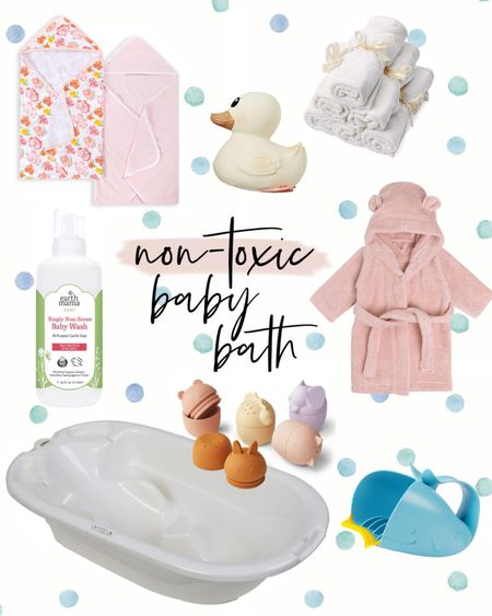 Non-toxic baby bath items! 🛁  Towels and washcloths, baby wash, bath toys, bath tub, rinse cup, rubber ducky, Amazon finds, baby robe, cmcoving, Caitlin Covington  #LTKbaby #LTKunder50 #LTKfamily
