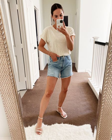 So excited these sandals are back this year! They are so comfy, cute and run tts! Also linking my shorts (26) and top (xs).   #LTKshoecrush #LTKunder100 #LTKSeasonal