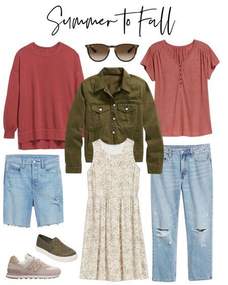 Summer to fall fashion ideas. Old Navy Bermuda shorts, distressed jeans, dress, denim jacket, RayBan sunglasses  #ltkunder50 #ltkunder100 #ltkshoecrush  #LTKcurves #LTKbacktoschool #LTKstyletip
