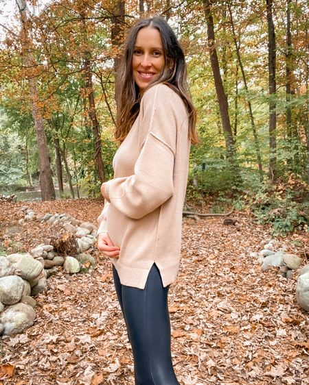 Amazon sweater on sale right now. Wearing size small in the khaki color. Love the oversized fit, very bump-friendly! Just spotted it on sale!  #LTKbump #LTKSeasonal #LTKunder50