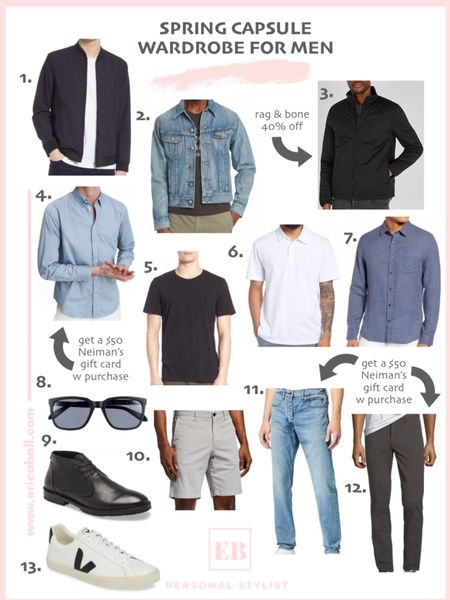 Men's spring capsule wardrobe.  Spring fashion for men. Style trends for men. Classic men's style.  http://liketk.it/3fb1D #liketkit @liketoknow.it #LTKmens #LTKstyletip #LTKunder100 Screenshot this pic to get shoppable product details with the LIKEtoKNOW.it shopping app