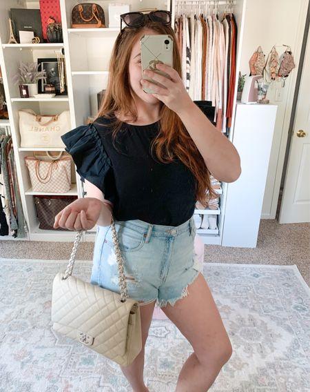 Summer outfit Bodysuit Express Mom shorts Abercrombie  #bodysuit #expressbodysuit #bodysuits #momshorts #falloutfits #jeanshorts #falloutfit #falltransitionoutfit #summeroutfit  #LTKSale #LTKunder50 #LTKunder100