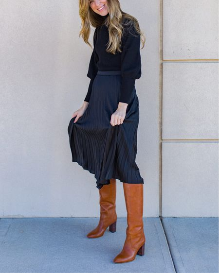 Fall Style 🙌🏻 This was a Thanksgiving outfit idea but would work just as well for holiday dinners and parties. Skirt is under $100, Loeffler Randall boots are TTS (affordable lookalike also linked). http://liketk.it/2HN7J #liketkit @liketoknow.it #LTKholidaystyle