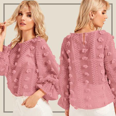 Flounce sleeve keyhole blouse from Shein   #LTKunder50 #LTKunder100 #LTKstyletip