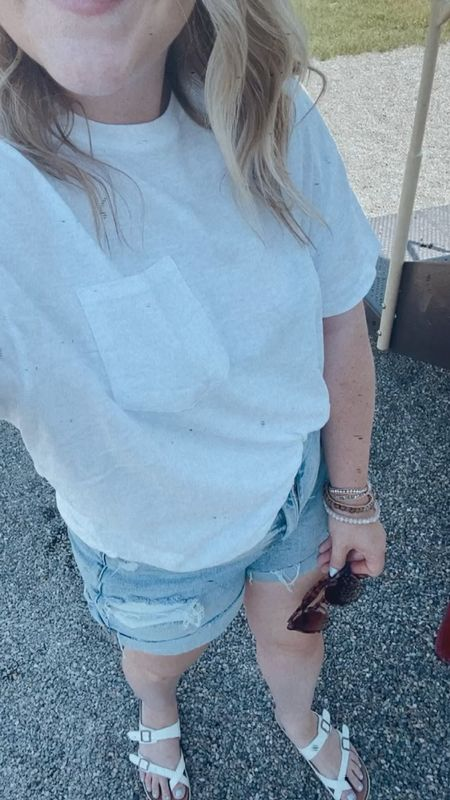 The best $8 boxy tee and it comes in multiple colors! Foot bled sandals are under $15 too. 👏🏻  Casual style, casual summer style, affordable style, Walmart finds, target style, Victoria Emerson, bracelets under $10.   #LTKsalealert #LTKshoecrush #LTKSeasonal