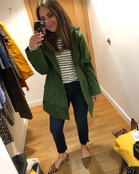Green rain jacket, I'm wearing the XXS, fit is good. Striped shirt, I am wearing the XS, fits TTS. http://liketk.it/2Et8d #liketkit @liketoknow.it