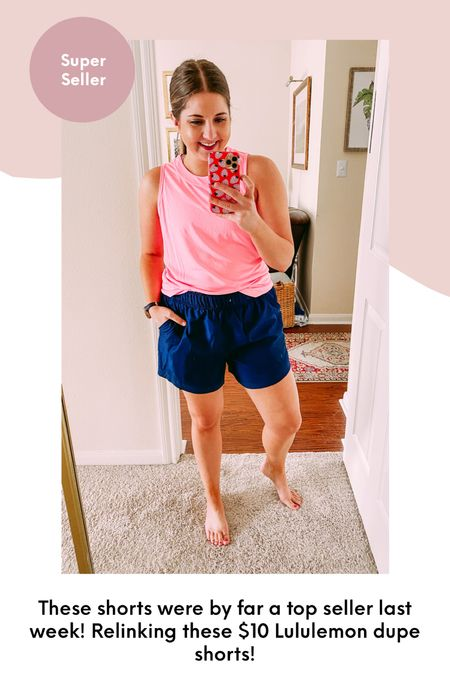 $10 Walmart shorts - Lululemon dupe shorts! I sized up one to a large for a roomier fit. They are lined and have pockets. 5 in inseam in multiple colors! Great athletic shorts for a great price!  #LTKunder50