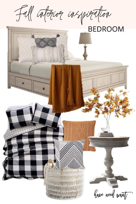 Another fall bedroom setup. Love the Buffalo check quilt and layered throw pillows with different textures and colors.   #LTKunder50 #LTKhome #LTKSeasonal