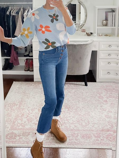 Demi boot cut jeans and drop shoulder flower print sweater with boots, fall outfits, Birkenstock, madewell, shein   #LTKshoecrush #LTKunder100 #LTKstyletip