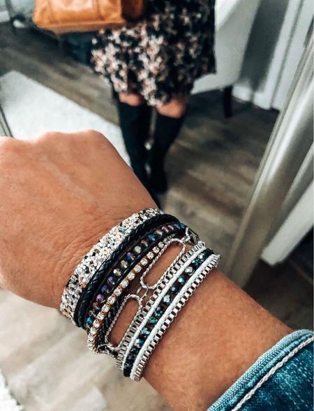 Victoria Emerson bracelet is a must-have!! Styled with Old Navy skirt and top with denim jacket   Fall Outfit, cuff bracelet, fall, skirt outfits, talk boots outfits, denim jacket outfit, fashion over 40, sale  #LTKstyletip #LTKsalealert #LTKunder50
