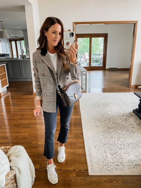 A little sporty with this plaid blazer and sneaker combo. Kick flare jeans. Everyday style ideas.  XS blazer Jeans TTS Sneakers TTS Tee XS/S  #LTKunder50 #LTKstyletip #LTKSeasonal
