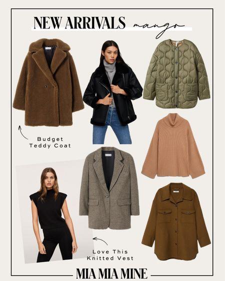 Mango new fall arrivals - mango Teddy Bear coat, green quilted jacket, sweater vest and camel sweater   #LTKSeasonal #LTKstyletip #LTKunder100