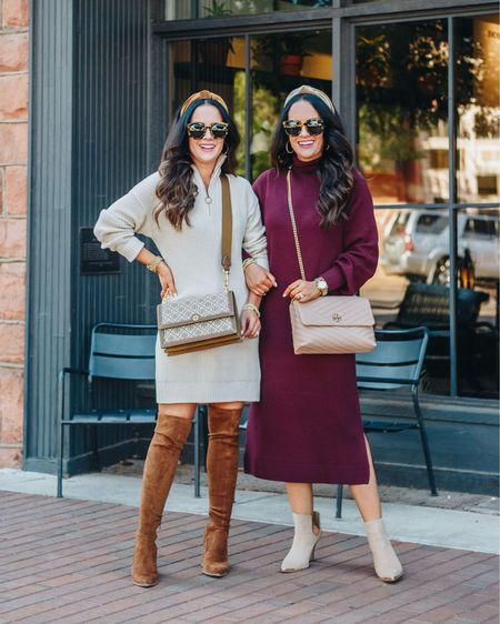 Cream or burgundy - which sweater dress is your fave? 🍁 #ad We are SO excited to partner with @nordstrom today to share 20 Sweater Dresses Under $100 on our blog! From casual to dressy - our roundup has so many cute options! 🛍 Plus it all ships for free too! Head to TheDoubleTakeGirls.com for all the details on our sister style outfits + see our full dress roundup. 👗There's so many on trend, comfy and affordable dresses to pick from. We can't wait to hear about which ones you like best! P.S. screenshot this photo to shop it all via the LTK app or head to our link in bio. Head to our IG stories for a closer look as well! Xo, L & W   #LTKshoecrush #LTKitbag #LTKstyletip