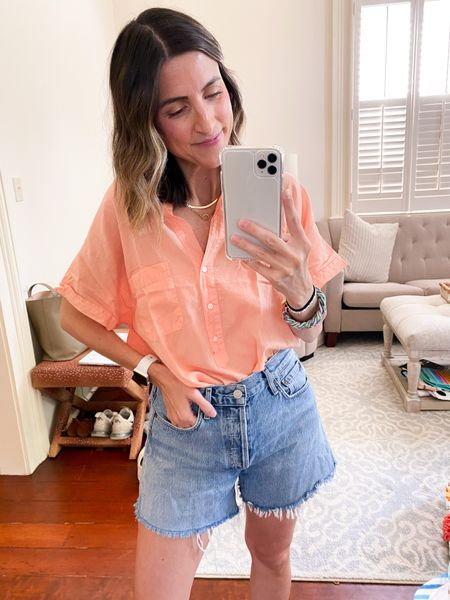 Get $25 OFF your Grayson purchase with code ASHLEEHIGHTOWER   This is the Grayson Artist shirt. I'm wearing a size 01. I recommend sizing DOWN one size in this top. I usually wear a size 02 in their traditional button ups.   Paired with AGOLDE Reese denim shorts! TTS   #LTKstyletip