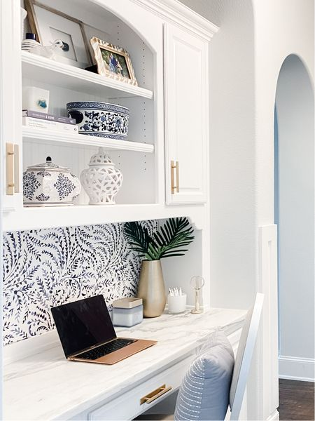 Workspace. Desk area. Blue and white decor. Blue and white wallpaper.  #desk    #LTKunder50 #LTKhome #LTKstyletip
