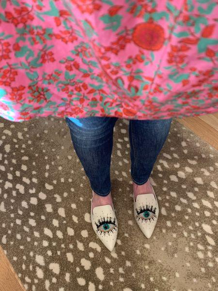 Springtime pattern play...all about flowy shirts and statement mules!   #LTKshoecrush #LTKstyletip #LTKSeasonal