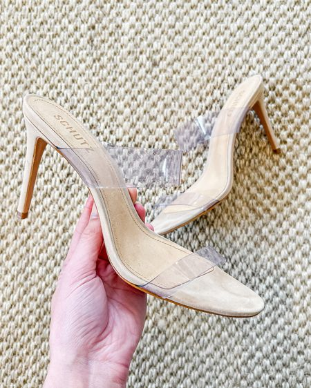 The best clear heels by Schutz. So chic on, just the right height to lengthen your legs, comfortable, and affordable. These clear heels run true to size.   heels, clear high heels   #LTKunder100 #LTKSpringSale #LTKshoecrush