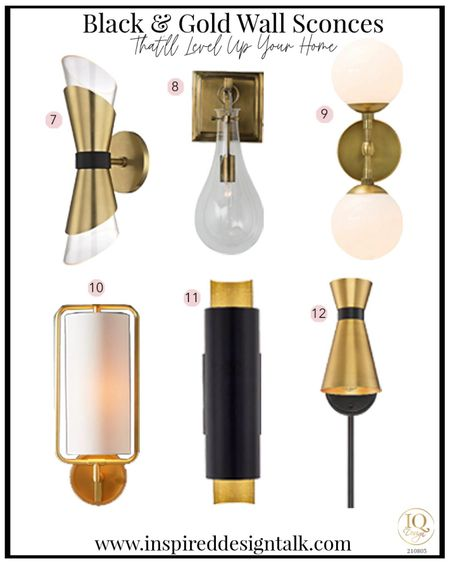 Awesome modern wall sconce for the bathroom, living room, bedroom and more!  Black and gold lighting  Bathroom sconce  Bathroom sconces, bathroom decor, bathroom inspiration, living room sconce, lighting, lighting ideas, wall sconce, living room decor, bedroom decor, bedroom inspiration, master bathroom and more.   You can instantly shop my looks by following me on the LIKEtoKNOW.it shopping app   #LTKstyletip #LTKhome #LTKbeauty