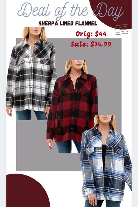 Sherpa lined plaid flannel shacket Deal of the day  #ltkfall #ltkunder15   #LTKSeasonal #LTKunder50 #LTKsalealert