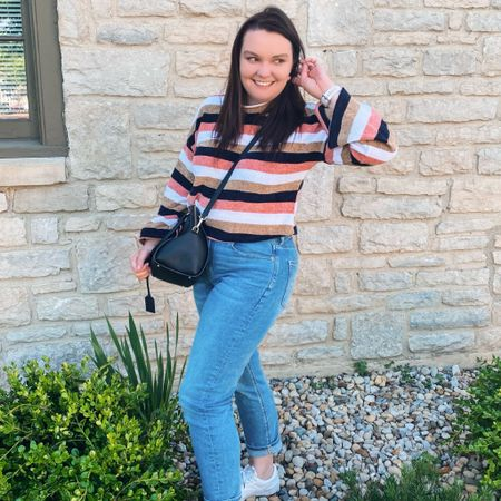 Chilly evening during the summer doesn't have to mean you can't dress like summer!   ✨✨✨✨✨  Summer, summer outfits, summer evening, sweater, stripe sweater, Kate spade, Kate spade purse, puma, puma sneakers  #LTKstyletip #LTKSeasonal #LTKunder100