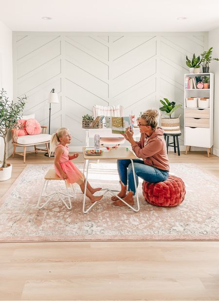 Home office decor and furniture linked here. Rug is from wayfair, kids table is from Walmart.   #LTKhome #LTKsalealert #LTKfamily