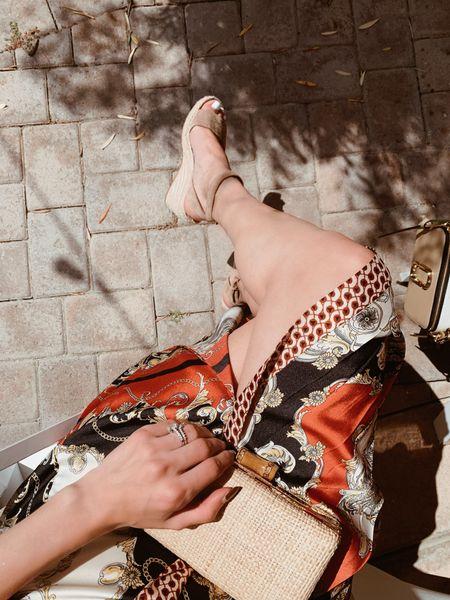 Satin skirt  Wedge shoes  Summer outfit  Bridal shower guest outfit  Summer shoes     #LTKunder50 #LTKwedding #LTKshoecrush