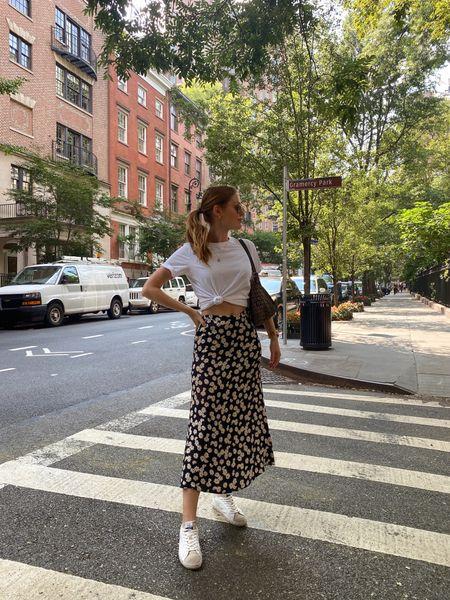 Reformation midi skirt and Sam Edelman sneakers   #LTKsalealert #LTKSeasonal
