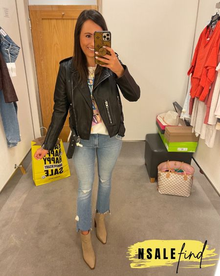Nordstrom anniversary sale outfit - mother jeans sized up to a 26, they are tiny but do have stretch. Tee I sized up to a small because there were no XS left but it totally works. Moto jacket runs small! I am wearing a 6. I am normally a 0! Booties are true to size but you probably need to size up if you have a wider foot. I have a narrow foot.  #nordstromanniversarysale #nordstrom #nordstromanniversarysale2021 #nsale #nsale2021 #anniversarysale #nordstromsale Nordstrom anniversary sale Nordstrom anniversary sale 2021 nsale nsale2021         #LTKshoecrush #LTKsalealert #LTKunder100