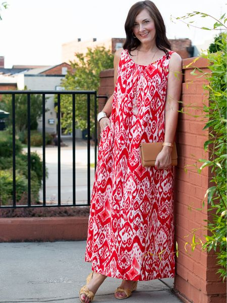 The must have dress of the summer is this red and coral Ikat gauze dress from Chico's! It's loose and flowy with pockets! I'm wearing a size 0. So comfortable and perfect for travel! http://liketk.it/3hmDB #liketkit #LTKstyletip #LTKtravel @liketoknow.it You can instantly shop my looks by following me on the LIKEtoKNOW.it shopping app