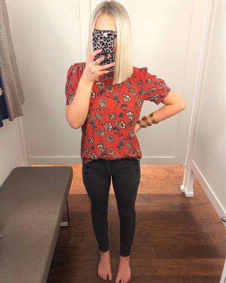 LOFT rust floral print puff sleeve top (XS Petite) with gray sateen sailor pants (24 Petite)! http://liketk.it/2FmiW @liketoknow.it #liketkit #LTKsalealert