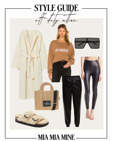 Casual fall outfit ideas H&M white coat Revolve sweatshirt  Commando faux leather leggings  Shearling slides Shearling tote by Marc Jacobs   #LTKSeasonal #LTKunder100 #LTKstyletip
