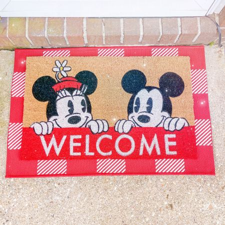 """Nothing says """"Welcome to My house!"""" like Disney right at the front door!🏡✨I loveeee this Mickey & Minnie door mat; it's such a cute one that's not seasonal! So you can use it into the Fall, as well!🍂 I always layer my front door mats, and I'm living for this red Buffalo checked mat underneath it! ❤️✨ http://liketk.it/3k6vn @liketoknow.it #liketkit #LTKfamily #LTKhome #LTKunder50"""