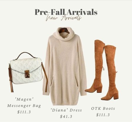 Fall outfits, over the knee boots, brown boots, turtle neck dress, sweater dress, fall dress, designer dupe, booties, boots, fall, sweaters, black boots, knee high boots white handbag, cute handbags  #LTKstyletip #LTKshoecrush #LTKitbag