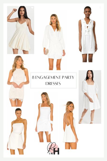 White dresses for bridal showers or engagement parties. White cocktail dresses.   #LTKunder100 #LTKstyletip #LTKsalealert