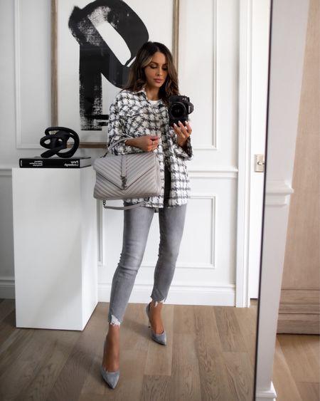 Fall plaid shacket wearing an XS Take 40% off with code MARIA40 now Gray YSL Saint Laurent bag  Gianvito Rossi suede gray heels    #LTKsalealert #LTKunder100 #LTKunder50