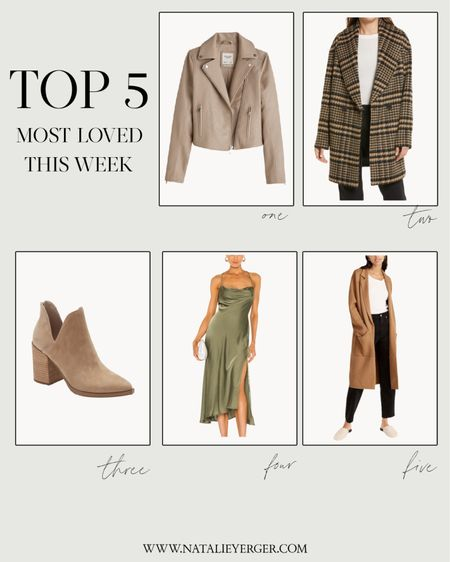 Your favorites this week! J. Crew coatigan is nearly sold out, but the Mango coatigan is also linked, very similar, and fully stocked!   • Faux leather jacket is TTS • Plaid shawl coat is very oversized (size down 1-2 sizes) • Booties are TTS • Dress is TTS • J. Crew coatigan is oversized, size down; Mango coatigan is TTS  #LTKunder100 #LTKSeasonal
