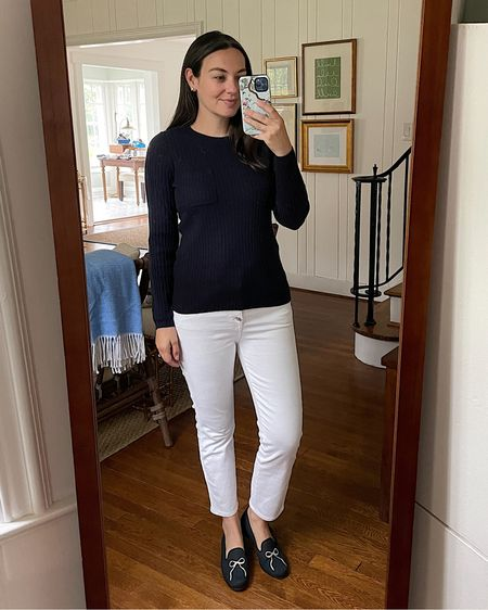 J crew fall sweater, navy sweater, white jeans