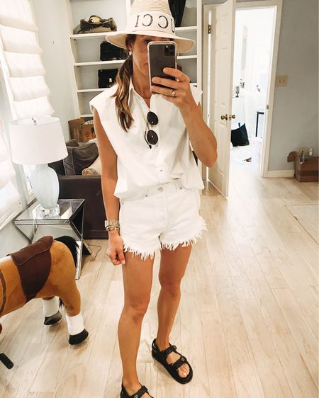 All white to match all the paint splatter in my hair (👀 my stories for real life) 😜 casual Sunday #ootd white denim shorts are $15 and top is  $29! Also linking dupe to my sandals. Shop my daily looks by following me on the LIKEtoKNOW.it shopping app (LIKEtoKNOW.it then search VPofstyle hit follow)   http://liketk.it/3fo4k #liketkit @liketoknow.it #LTKunder50 #LTKunder100 #LTKtravel
