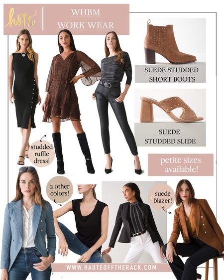Shop @WHBM work wear! Petite sizes available! #workwear #whitehouseblackmarket #fallfashion #suedebooties #suedeheels #leatherpants #blazer #blackdress #officewear  #LTKworkwear #LTKtravel #LTKstyletip