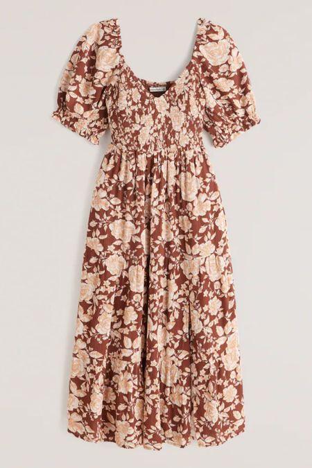 Abercrombie dress  Smocked dress Midi dress Fall dress Wedding guest dresses  #LTKsalealert #LTKstyletip #LTKunder100
