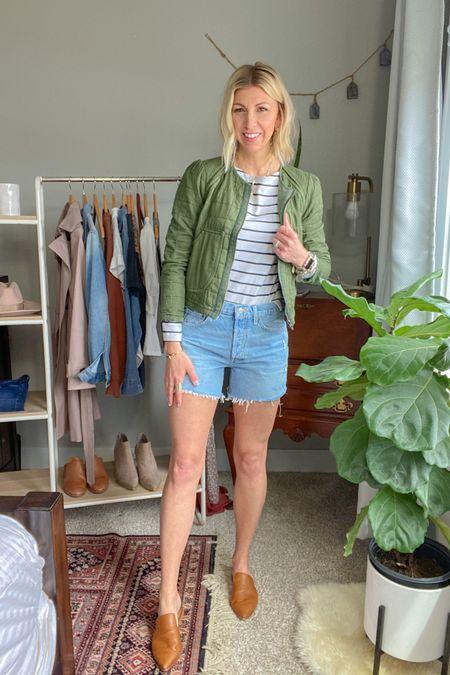 http://liketk.it/3bxOY #liketkit @liketoknow.it  My Spring capsule 2021: -stripe tee -quilted jacket -denim shorts -mules #LTKstyletip #LTKunder50 #LTKunder100