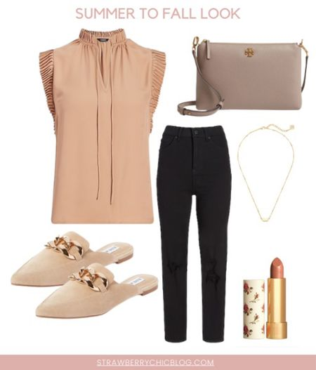Summer to fall look- pair a fun top with jeans and mules   #LTKstyletip #LTKshoecrush #LTKSeasonal