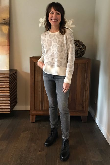 Styling my Splendid leopard print sweater! Wearing size small.   Good American jeans, grey jeans, combat boots, Sam Edelman, lace up boots, fall outfit, fall boots, casual outfit, work outfit, teacher outfit, school outfit   #LTKstyletip #LTKshoecrush #LTKunder100