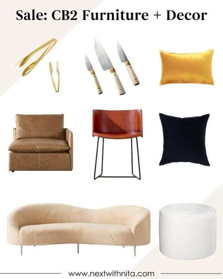 CB2 modern furniture and modern home decor on sale! Love the velvet throw pillows, couch, leather stool chair, gold serving ware, gold knives, and more!   #LTKhome #LTKstyletip #LTKsalealert