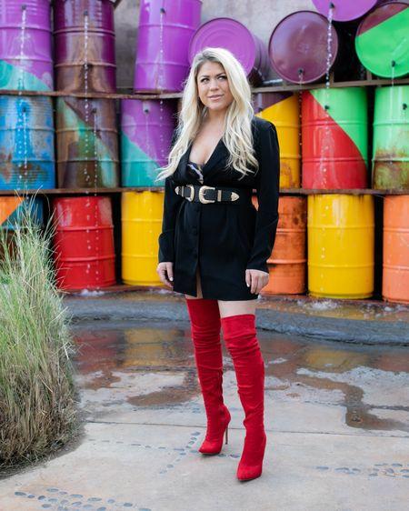 Business sass http://liketk.it/32Uzo #liketkit @liketoknow.it #blazersuit #blazer #boots #thighhighs #redthighhighs