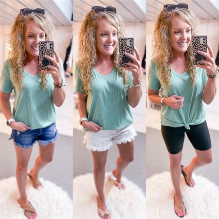 Comfy oversized tee size medium / Amazon / white denim shorts size medium / blue Jean shorts size small / stretchy / biker shorts size small / summer outfit / camping / lounge http://liketk.it/3k4dl #liketkit @liketoknow.it #LTKstyletip #LTKunder50 #LTKshoecrush