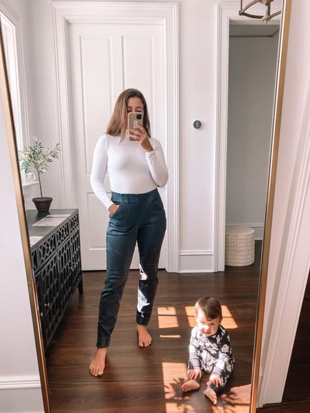 Joggers and bodysuits, the easiest combo for fall! These new joggers from @spanx are my new favorite alternative to leggings or denim — they feel amazing and go with everything! Use the code LIZXSPANX for 10% off your Spanx order!   #LTKfit #LTKunder100 #LTKunder50