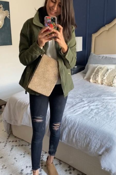 Another look with the green jacket! Throw it on with some distressed black denim, and booties + sweater for a casual chic look.   http://liketk.it/2XMoi #liketkit @liketoknow.it