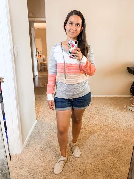 Hooded top, jean shorts, canvas sneakers   #LTKunder50 #LTKSeasonal #LTKstyletip